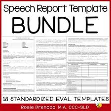 speech language standardized evaluation report template bundle