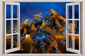 bumblebee transformers 3d window view decal wall sticker home