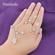 aliexpress buy new arrival white gold color aaa nandudu aaa cubic zirconia cluster palm bracelet women cuff