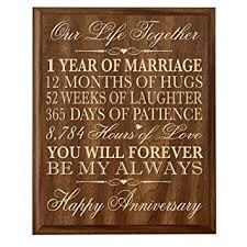 1st anniversary gift for him 1st wedding anniversary wall plaque gifts for