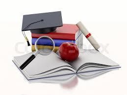 graduation books 3d renderer image open book with an apple graduation cap