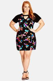 city chic u0027graffiti u0027 short sleeve dress plus size available