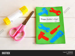 happy father u0027s day greeting card with paper tools scissors glue