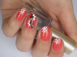 spring coral nails with flowers youtube