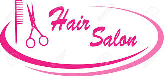 modern pink hair salon sign with design elements and text royalty