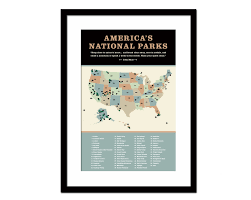National Parks Us Map United States National Parks Poster Art Print