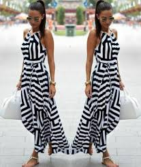 women black white striped boho maxi dresses 2017 summer style