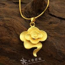 gold flower pendant necklace images Wholesale rich golden yellow gold flower pendant necklace bride jpg