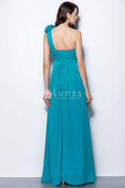 turquoise cute floral one shoulder empire a line long bridesmaid