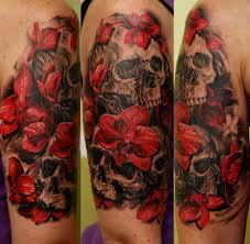 beautiful red orchids and black skulls tattoo on half sleeve