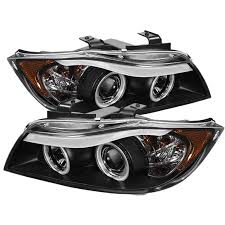 bmw headlights amazon com spyder auto bmw e90 3 series black halogen ccfl amber