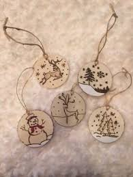 wood burned christmas tree ornaments snowflakes holiday christmas