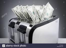 Burning Toaster Money To Burn Concept One Hundred Dollar Bills Burning In A