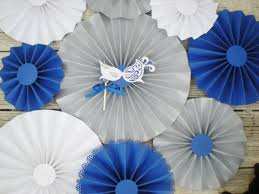 masquerade paper fans set silver royal blue and white for