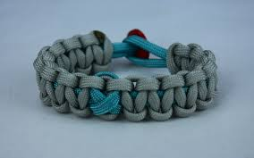 teal ribbon teal and grey ptsd support paracord bracelet w button back teal ribbon jpg