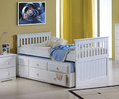 Captains Bed Twin Size Mission Captains Trundle Bed White Bedroom Furniture Beds