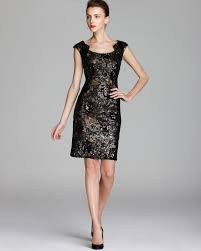 david meister dress gold underlay sequin lace in black lyst