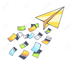 vector illustration of yellow paper plane and flying color papers