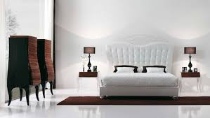 luxury white ikea bedroom design with high tufted headboard and