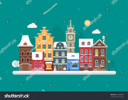 european style houses europe winter street flat landscape colorful stock vector