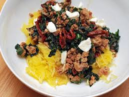 spaghetti squash with sausage kale and sun dried tomatoes recipe