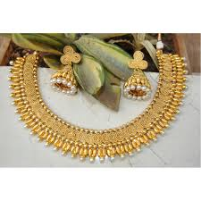 necklace sets images Spiral gold plated ethnic necklace set with jhumkas JPG