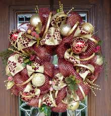 deco mesh burgundy and gold wreath gold