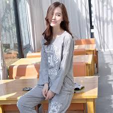 sale autumn winter print cotton simple pajamas sets for suit