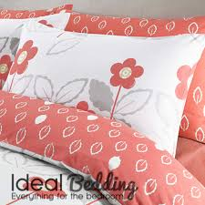 scandi coral floral duvet quilt bedding cover and pillowcase