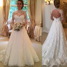 2017 sheer lace wedding gowns ivory open back a line long sleeve