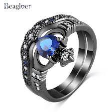 aliexpress buy beagloer new arrival ring gold beagloer new blue finger rings heart cubic zirconia