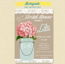 pink hydrangea lace mason jar invitation bridal wedding
