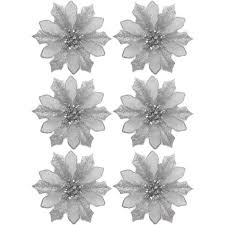 time silver clip on poinsettia ornaments set of