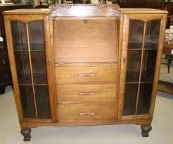 Drop Front Secretary Desk by Antique Oak Double Bookcase Drop Front Secretary Desk Combo Old