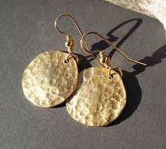 gold disc earrings gold disc earrings ancient jewelry hammered brass