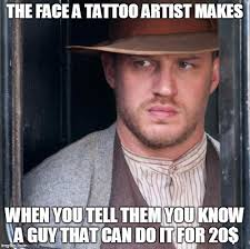 Tattoo Meme - tom hardy meme imgflip