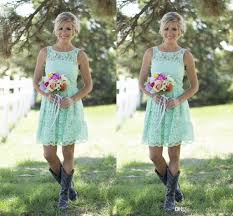 2016 country style mint green bridesmaid dresses short lace formal