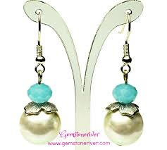 earrings for prom beautiful blue jade bali silver ivory pearl earrings