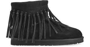 ugg wynona sale lyst ugg wynona fringe sheepskin boots black in black