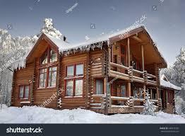 log cabin large windows balcony porch stock photo 348773792