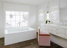 pink vanity chair contemporary bathroom carrie hatfield