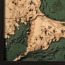 cape cod wood map small 3d nautical topographic chart framed art