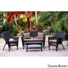 Patio Furniture Conversation Set Black Wicker 4 Piece Patio Conversation Set Free Shipping Today
