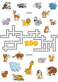 Printable Halloween Crossword Puzzles by Crossword Puzzle About Zoo Animals Free Printable Puzzle Games