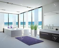 a 3d rendering of light bathroom interior with jacuzzi stock photo