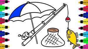 how to draw set tool go to fishing coloring pages for children