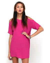 dress pink buy motel cold shoulder dress in hot pink at motel rocks