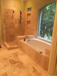travertine bathroom remodel in west lake hills austin tx