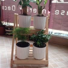 solid wood plant stand flower pot racks decor 2 tier shelf planter