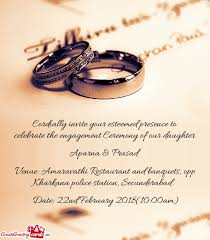 engagement ceremony invitation cordially invite your esteemed presence to celebrate the